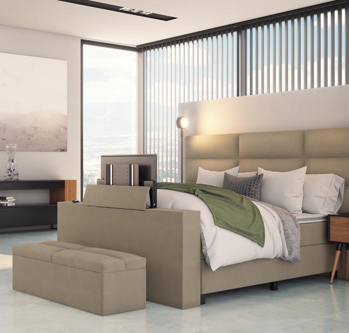 Händerson boxpsring Quara met groot hoofdbord, tv lift en bedkoffer