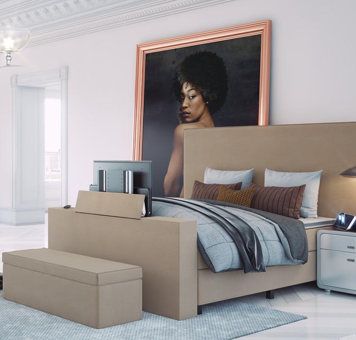 Händerson boxspring Toscana met groot hoofdbord, tv lift en bedkoffer